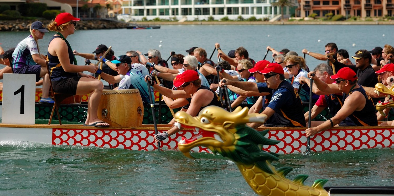 Dragon Boating at West Lakes SA