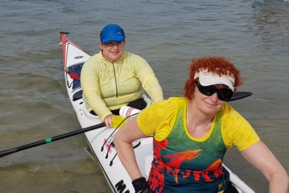 Drone footage of Deb Grant & Jennifer Le Ray competing their 24 hour fundraising paddle